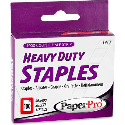 "PaperPro® Heavy Duty Staples, 100 Sheet Capacity, 1/2"" Leg Length, 100 Per Strip, 1000/Box"