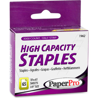 "PaperPro® Heavy Duty Staples, 60 Sheet Capacity, 2-1/2"" Leg Length, 125 Per Strip, 3000/Box"