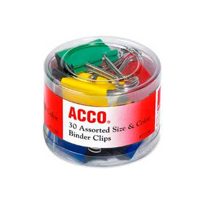 Acco® Colored Binder Clips, Assorted Sizes and Colors, 30/Pack