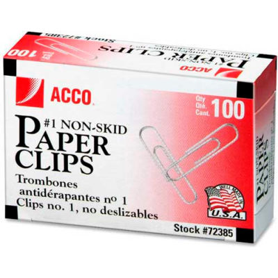 Acco® Economy No. 1 Non-Skid Paper Clips, Silver, 1000/Pack