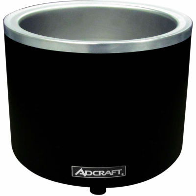 Adcraft W1200WR/B - Food Cooker/Warmer, Round, 7/11 Qt., 120V, Stainless Steel, Black