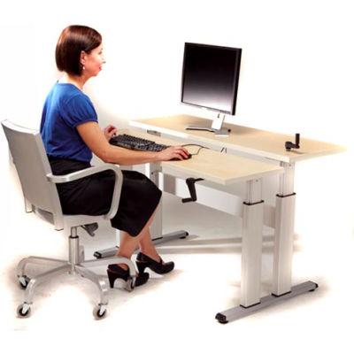 Equity™ Height Adjustable Bi-Level Computer Workstation - Maple