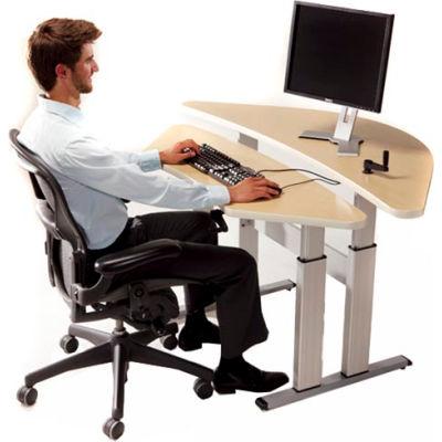 Equity™ Height Adjustable Bi-Level Corner Computer Workstation - Maple