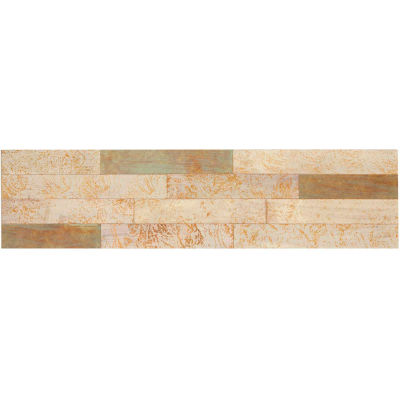 "Aspect Peel & Stick 23.6"" x 5.9"" Ivory Patina Distressed Metal Decorative Wall Panels - ADM-14"
