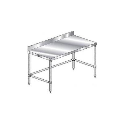 "Aero Manufacturing 1TSBX-2496 - 14 Gauge Workbench Stainless Steel -10"" Backsplash 96""W x 24""D"