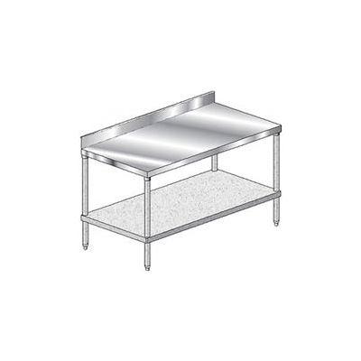 "Aero Manufacturing 2TGB-3696 14 Ga. Workbench Stainless Steel 4"" Backsplash & Galv. Undershelf 96x36"