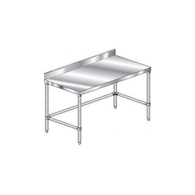 "Aero Manufacturing 2TGBX-2436 14 Ga. Workbench Stainless Steel - 4"" Backsplash & Galv. Legs 36 x 24"