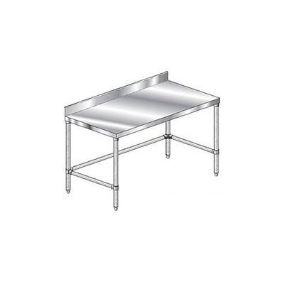 "Aero Manufacturing 2TGBX-2496 14 Ga. Workbench Stainless Steel - 4"" Backsplash & Galv. Legs 96 x 24"