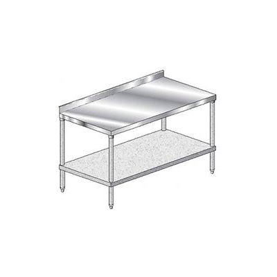 "Aero Manufacturing 2TGS-2460 - 14 Ga Workbench 304 Stainless 2-3/4"" Backsplash & Galv Shelf 60 x 24"