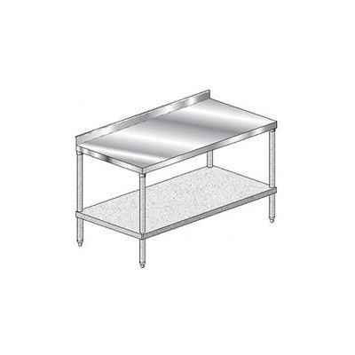 "Aero Manufacturing 2TGS-3684 - 14 Ga Workbench 304 Stainless 2-3/4"" Backsplash & Galv Shelf 84 x 36"