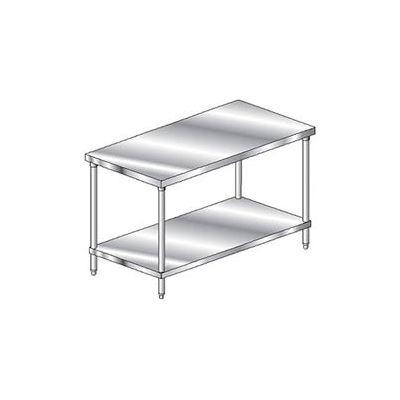 Aero Manufacturing 2TS-3672 14 Gauge Premium Workbench 304 Stainless Steel - Adj. Undershelf 72 x 36