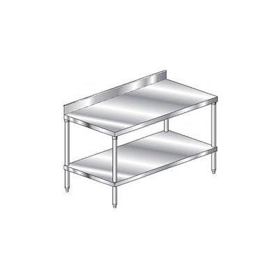 "Aero Manufacturing 2TSB-24144 14 Ga Workbench Stainless Steel - 4"" Backsplash & Undershelf 144 x 24"