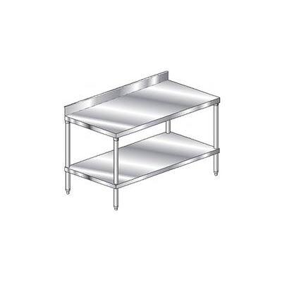 "Aero Manufacturing 2TSB-2436 14 Ga. Workbench Stainless Steel - 4"" Backsplash & Undershelf 36 x 24"