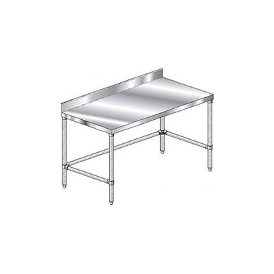 "Aero Manufacturing 2TSBX-3696 - 14 Gauge Workbench Stainless Steel - 4"" Backsplash 96""W x 36""D"