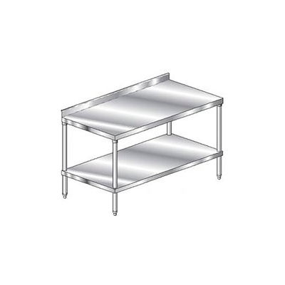 "Aero Manufacturing 2TSS-3660 - 14 Ga. Workbench 304 Stainless 2-3/4"" Backsplash & Undershelf 60 x 36"
