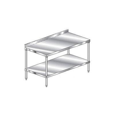"Aero Manufacturing 2TSS-3696 - 14 Ga. Workbench 304 Stainless 2-3/4"" Backsplash & Undershelf 96 x 36"