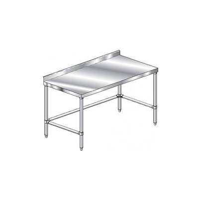"Aero Manufacturing 2TSSX-24120 14 Gauge Workbench 304 Stainless Steel - 2-3/4"" Backsplash 120 x 24"