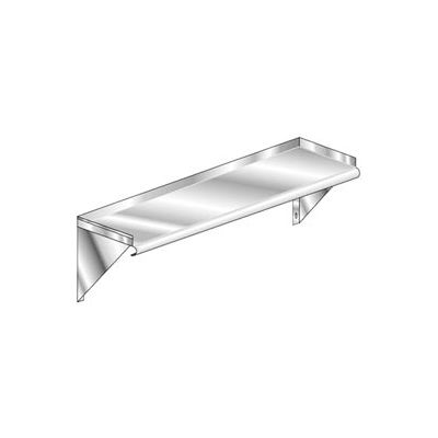 Aero Manufacturing 2W-1060 14 Gauge Wall-Mounted Shelf 304 Stainless Steel - Safety Edge NSF 60 x 10
