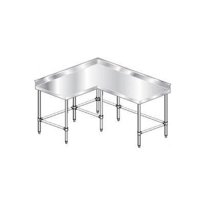 "Aero Manufacturing 3TCBX-6072 16 Gauge Corner Worktable 304 Stainless Steel - 4"" Backsplash 72 x 60"