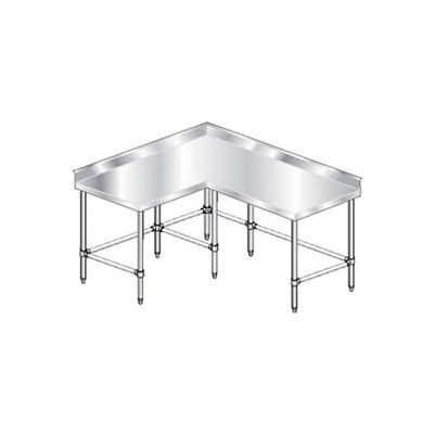 "Aero Manufacturing 3TCBX-6096 16 Gauge Corner Worktable 304 Stainless Steel - 4"" Backsplash 96 x 60"