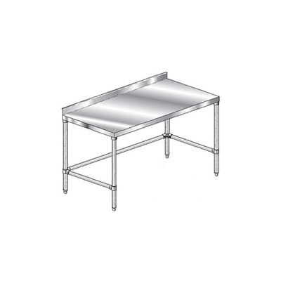 "Aero Manufacturing 3TGSX-2484 14 Ga. Workbench 304 Stainless - 2-3/4"" Backsplash & Galv Legs 84 x 24"