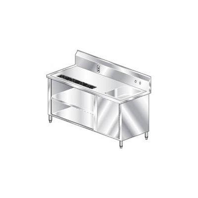 "Aero Manufacturing BVT-72 14 Gauge Beverage Table 304 Stainless Steel - Right Sink 72""W x 30""D"