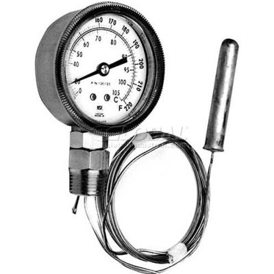 """Thermometer, 2-7/8"""" Dia., 20-220F, 1/2 MPT, For Champion, 100125"""
