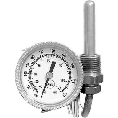 "Temperature Gauge, 2"" Dia., -100-220F, Rear Palnut, For American Dish Service, 299-1005"
