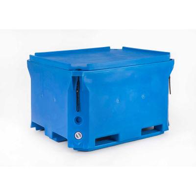 "Bonar Plastics Polar Blue Insulated Box With Lid, 49""L x 41""W x 30""H, 1400 Lbs. Capacity"