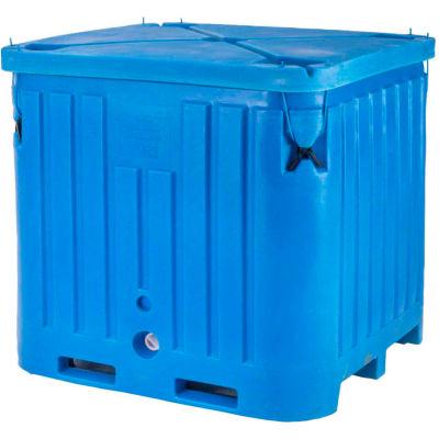 """Bonar Plastics Polar Insulated Box with Lid  PB2145 - 2100 Lbs. Capacity 48""""L x 43""""W x 47""""H, Blue"""