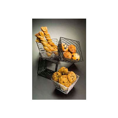 "American Metalcraft BNRB86B - Birdnest Riser/Basket, 8"" Sq. Top x 6"" Sq. Bottom x 4""H, Black"