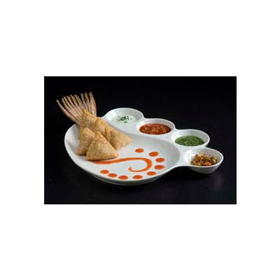 """American Metalcraft CSP4 - Porcelain Impression Plate, 12-1/2"""" Dia., 1 Eating Area and 4 Sauce Cups"""