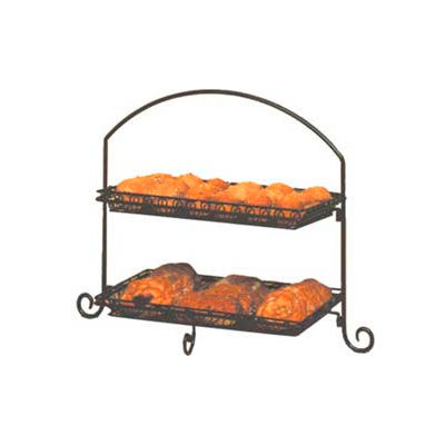 American Metalcraft IS12 - Platter Stand, Large, Rectangular, 2-Tiered, Black Wrought Iron