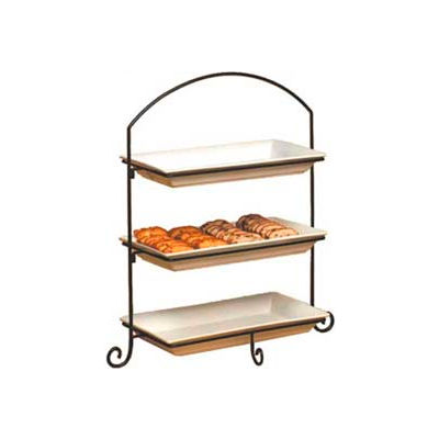 American Metalcraft IS13 - Platter Stand, Large, Rectangular, 3-Tiered, Black Wrought Iron