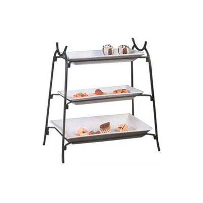 American Metalcraft IS14 - Platter Stand, Large, 3-Tiered, Black Wrought Iron
