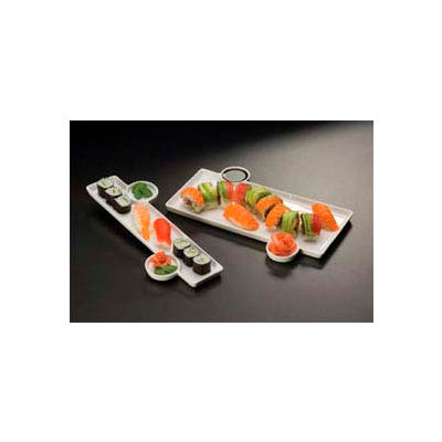 American Metalcraft PORS140 - Sushi Plate, 13 x 9-1/3, With Built-In Sauce Cup, Porcelain