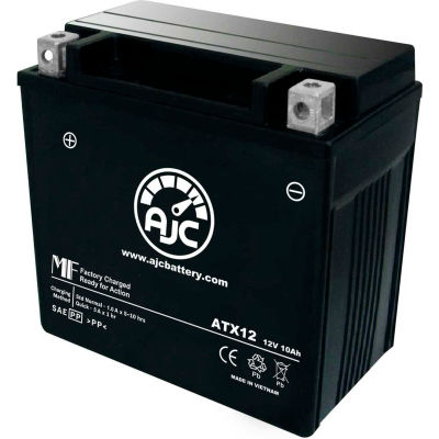 AJC Battery Buell XB12S Lightning 1200CC Motorcycle Battery (2004-2008), 10 Amps, 12V, B Terminals