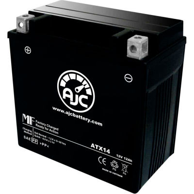 AJC Battery Kawasaki Ninja ZX-14R 1400CC Motorcycle Battery (2006-2014), 12 Amps, 12V, B Terminals