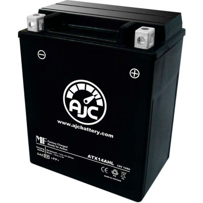 AJC Battery Honda Ascot FT500 Motorcycle Battery (1982-1983), 14 Amps, 12V, B Terminals