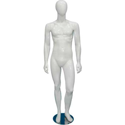 Male Mannequin - Hands by Side, Legs Straight - Gloss Finish, White