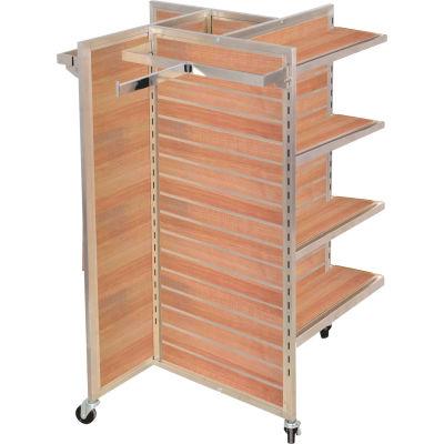 "Slat Wall Merchandiser, Four Panel-Pinwheel, 25""W x 25""D x 54""H, with Castors - Maple"