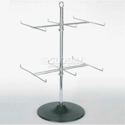 Economy Wire Display, 2 Tier Spinner, Chrome/Black