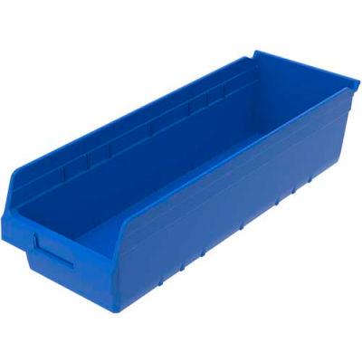 "Akro-Mils® Nestable Plastic Shelf Bin, 8-3/8""W x 23-5/8""D x 6""H, Blue - Pkg Qty 6"