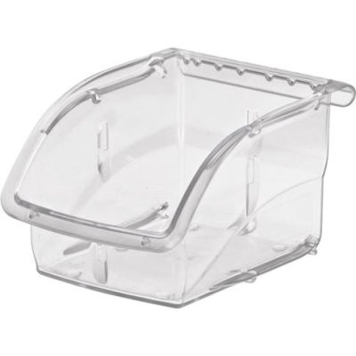 "Akro-Mils Insight® Plastic Stack & Hang Bin, 4-1/8""W x 5-3/8""D x 3-1/4""H, Clear - Pkg Qty 16"