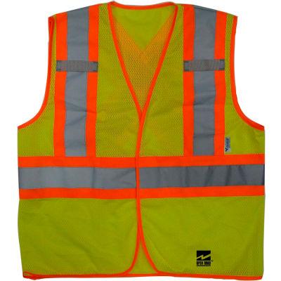 Viking® U6110G Hi-Vis Open Road BTE Safety Vest, Fluorescent Green, 4XL/5XL