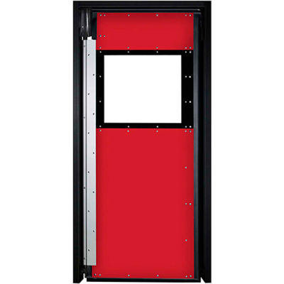 Aleco® Extra Heavy Duty Single Panel Impact Traffic Door 4'W x 8'H Red XHD1754896SD-RD