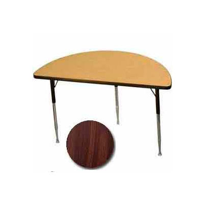 "Activity Table - Half-Round - 24"" X 48"", Juvenile Adj. Height, Walnut"
