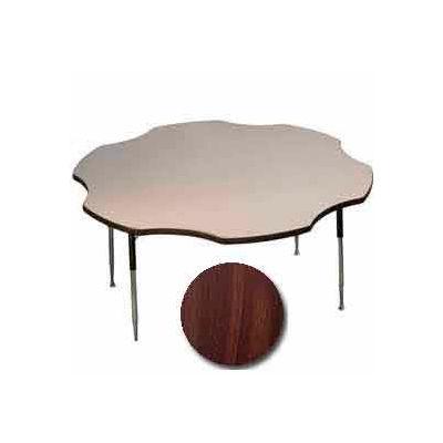 "Activity Table - Flower - 60"" Diameter, Juvenile Adj. Height, Walnut"