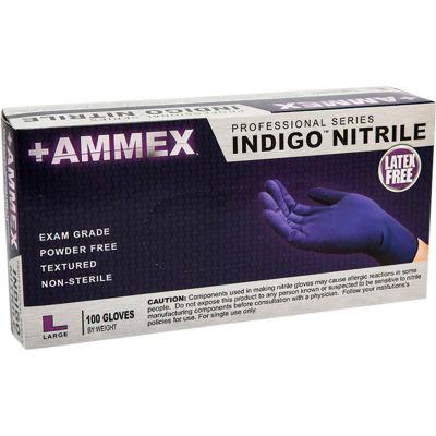 Ammex® AINPF Textured Medical/Exam Nitrile Gloves, Powder-Free, Indigo, Small, 100/Box