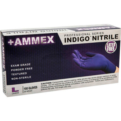 Ammex® AINPF Textured Medical/Exam Nitrile Gloves, Powder-Free, Indigo, Large, 100/Box